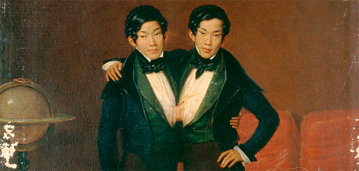 Edouard-Henri-Théophile Pingret, Chang and Eng, Siamese Twins, 1836. Wellcome Library, London